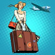 Girl travel suitcase airport Stock Illustration