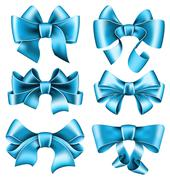 Six blue bows Stock Illustration