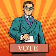 Candidate votes at the elections - stock illustration