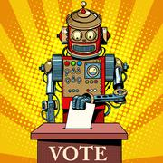 Robot the voter vote on election day - stock illustration