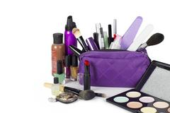 Cosmetic group with make up purse Stock Photos