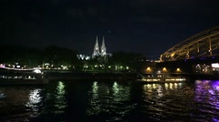 Cologne Skyline at night, Germany (Koeln) View from mouving motor ship. Stock Footage