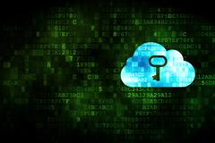 Cloud networking concept: Cloud With Key on digital background Stock Illustration