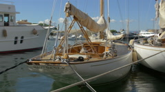 Havsornen sailboat anchored the Old Port of Saint-Tropez - stock footage