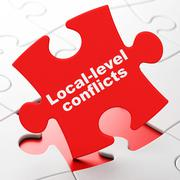 Politics concept: Local-level Conflicts on puzzle background - stock illustration