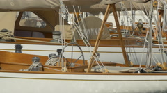 Savannah and other sailboats anchored in the port of Saint-Tropez - stock footage