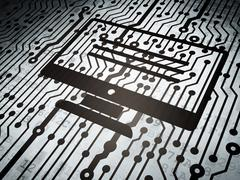 Database concept: circuit board with Monitor - stock illustration