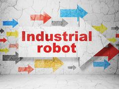 Industry concept: arrow with Industrial Robot on grunge wall background Piirros