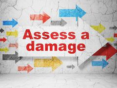 Insurance concept: arrow with Assess A Damage on grunge wall background Stock Illustration