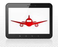 Stock Illustration of Tourism concept: Tablet Pc Computer with Aircraft on display