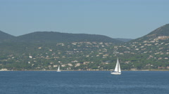 Sailboats floating on the sea in Saint-Tropez Stock Footage