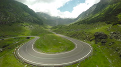 Transfagarasan road, Fagaras Mountains, Romania, aerial Stock Footage