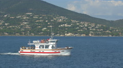 Tourist boat floating on the sea in Saint-Tropez Stock Footage