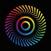 Circular Pattern Colorful Wheel Rainbow Black - stock illustration