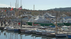 Raw boats and yachts moored in the port of Saint-Tropez Stock Footage