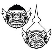 Thai Khon mask - Phra Ram character from trational dance drama Stock Illustration