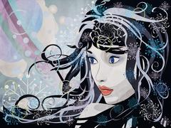 Abstract grunge winter girl - stock illustration