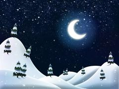 Beautiful winter night - stock illustration