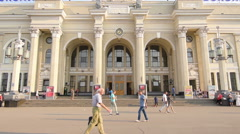 People are walking front of Odessa railway station entrance, tilt shot Stock Footage