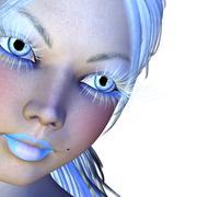 Girl with white lashes Stock Illustration