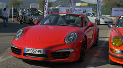 Two ages of Porsche displayed in Saint-Tropez Stock Footage