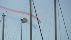 French air patrol having an amazing air show on Sainte-Maxime's sky - stock footage