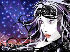 Winter girl background Stock Illustration