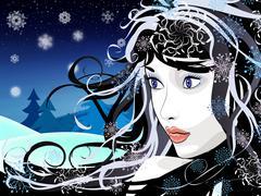 Winter girl background - stock illustration