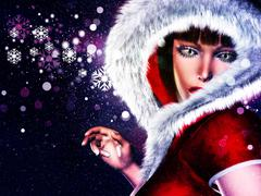 Winter girl in red outfit - stock illustration