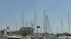 Boat masts in Sainte-Maxime port, France Stock Footage