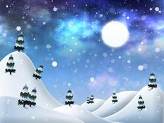Winter night - stock illustration
