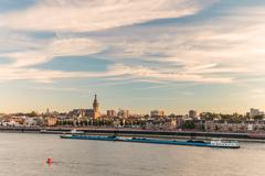 The Dutch city of Nijmegen during sunset - stock photo