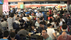 Students teachers eat lunch in a canteen at the campus of Hong Kong University Stock Footage