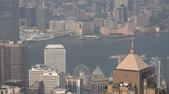 View towards Victoria Harbor and Kowloon from the Peak in Hong Kong Stock Footage