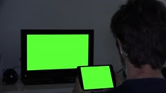 Night Watch Technology Devices Green Screen at Night Stock Footage