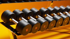 Dumbbells On A Rack Stock Footage