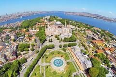 Ayasofya at Old City of Istanbul. Aerial Turkey Views. Hagia Sophia, forth la - stock photo