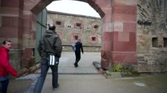 People visit the Ehrenbreitstein. Stock Footage