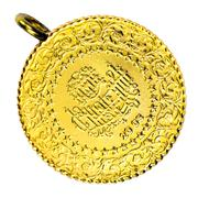 1/4 Turkish Gold coin necklace. (Front) Isolated on white background Stock Photos