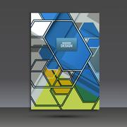 Brochure template with an abstract design of hexagons Stock Illustration