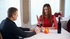 man and woman romantic love evening in a restaurant drinking wine, Valentine's - stock footage