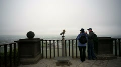 People visit observation deck at the Ehrenbreitstein fortress. Stock Footage