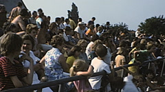 France 1975: spectators in the tribune of a playground - stock footage