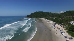Flying over Juquehy Beach, Sao Paulo, Brazil Stock Footage