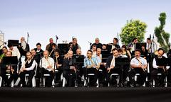 Reed flute orchestra perform on stage for the month of Ramadan Stock Photos