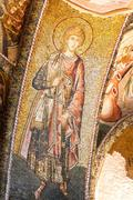 Wall mosaics of ancient Chora Church, Istanbul. Byzantine military saint in r Stock Photos