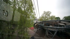 View from a cable car moving above the Rhine river. - stock footage