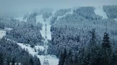 Ski-Lift Up Large Mountain - stock footage