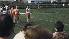 France 1975: athlets playing artistic gymnastics outdoor Stock Footage