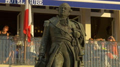Suffren's statue on Quai Jean Jaures, in Saint Tropez Stock Footage